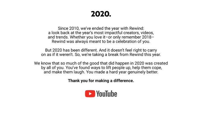 Aviso de Youtube sobre no Rewind en 2020